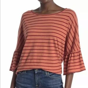 🆕MADEWELL Orange Red Stripes Bell Sleeve Size M